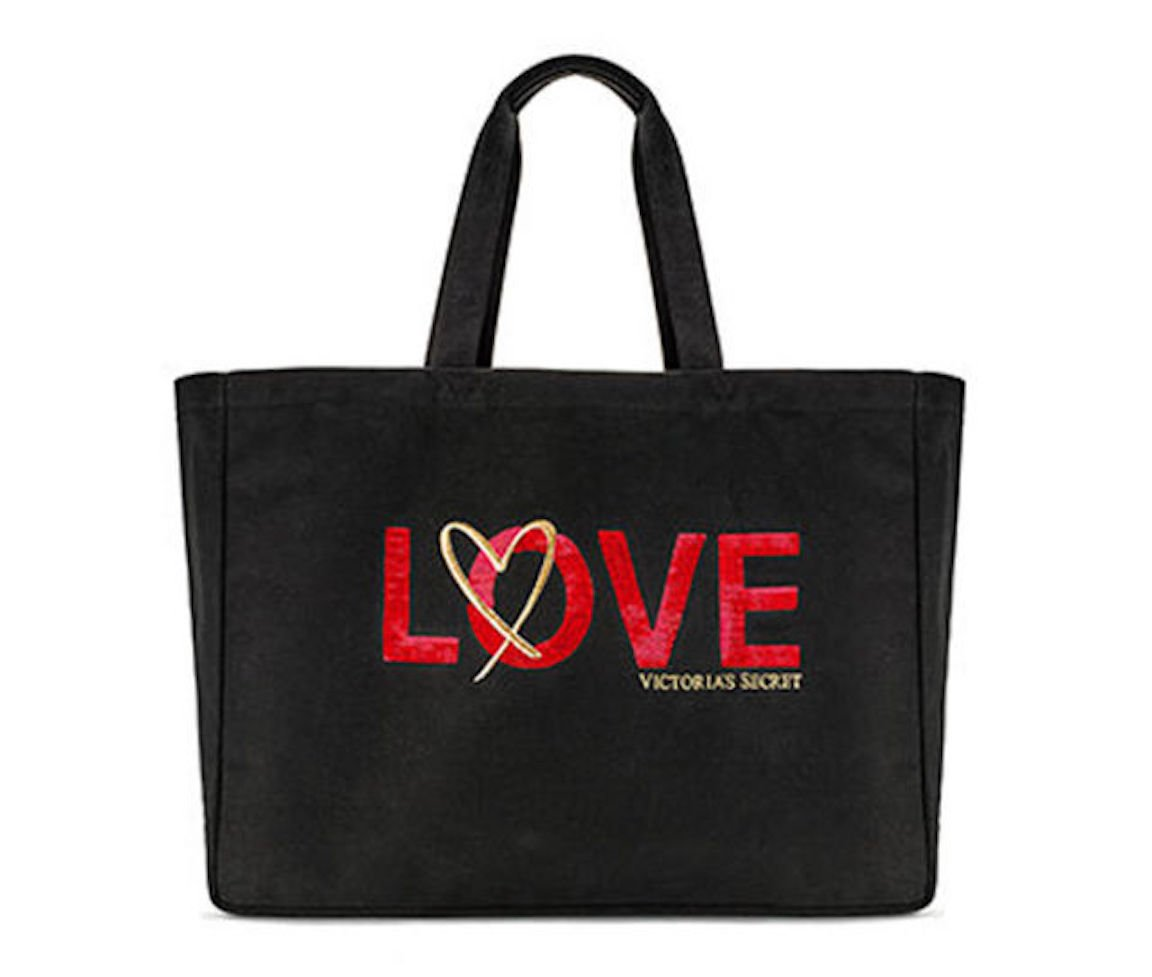Victoria's Secret Love Tote Weekender Bag, Black Canvas & Red Sequin