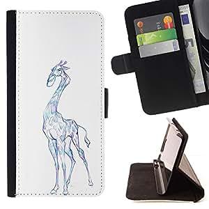 Momo Phone Case / Flip Funda de Cuero Case Cover - Jirafa del dibujo del arte colorido Lápiz Azul - LG Nexus 5 D820 D821