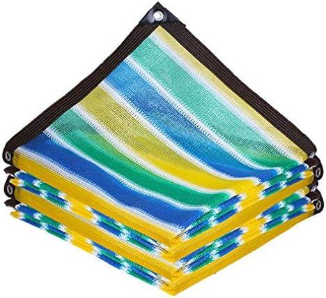 HUYYA 90%日焼け止め シェード 布 ネット、シェーディングネット ミシン目付き 遮光日よけネット 強化エッジ オーニングシェード 角補強 テラス用,Stripe_3x5m/9x15ft