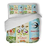 SanChic Duvet Cover Set Happy Easter He Is Risen Festive Egg Hunt Basket Cake with Decorated Cross Spring Flowers Lamb of God Decorative Bedding Set with 2 Pillow Shams Full/Queen Size