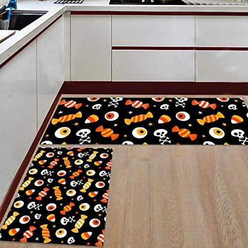 Prime Leader 2 Piece Non-Slip Kitchen Mat Runner Rug Set Doormat Halloween Candy and Eyeball Skull Door Mats Rubber Backing Carpet Indoor Floor Mat (19.7