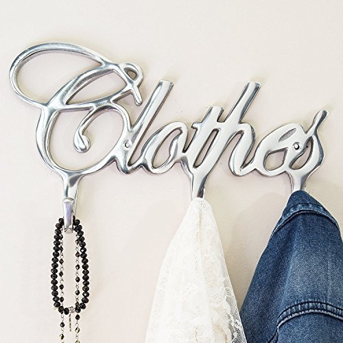 Contemporary Style Clothes Hook Rack by Comfify - Multi-Purpose Aluminum Modern Coat Rack, Removable Wall Hanger, Clothing Hooks - 3 Coat Hooks, Cursive Font Design, Polished Finish - Includes Screws