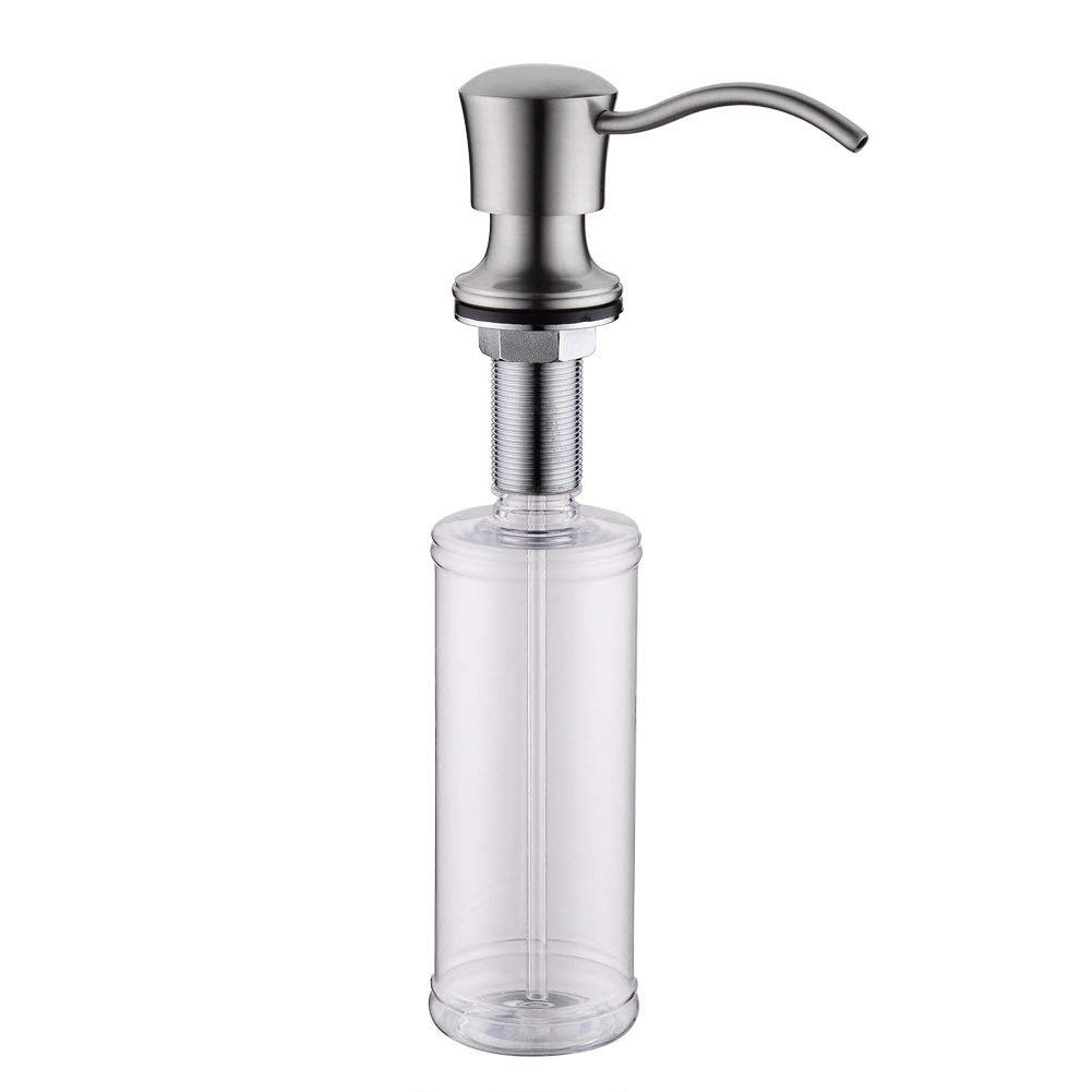 Best Brass Sink Soap Dispenser - Large Capacity 13 OZ Bottle-2.15 Inch Threaded Tube for Thick Deck Installation-Brushed Nickel