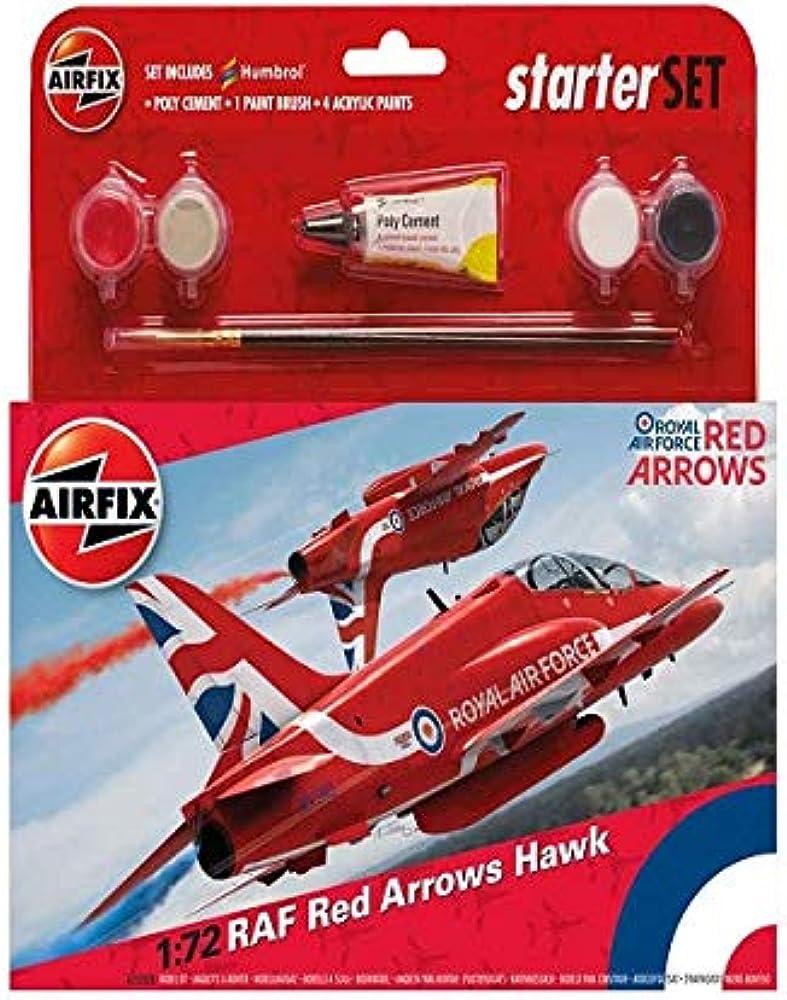 AIRFIX 1:72 RED ARROWS HAWK RAF MODEL AIRCRAFT KIT MEDIUM STARTER SET A55202B