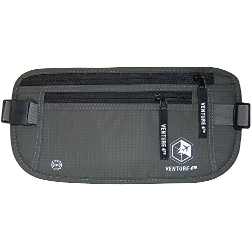 [Travel Money Belt RFID Blocking Hidden Waist Stash Venture 4th (Grey)] (Deluxe Cotton Black Belt)
