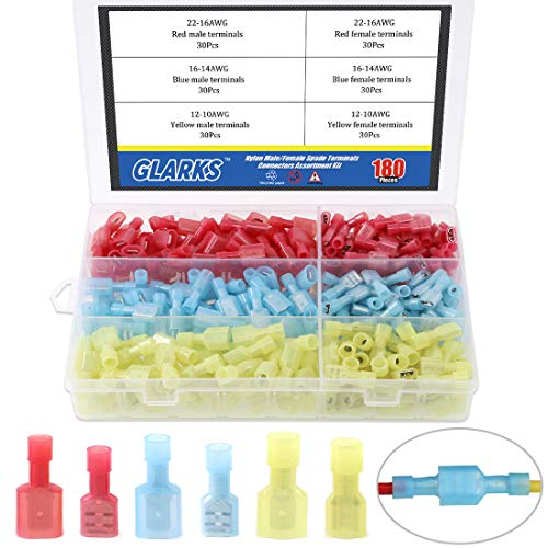 Glarks 180pcs 22-16 16-14 12-10 Gauge Nylon Fully Insulated Male/Female Spade Quick Splice Wire Disconnect Electrical Insulated Crimp Terminals Connectors Assortment Kit