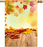 ShineSnow Autumn Golden Tree Maple Fall Falling Leaves Seasonal Scenery House Flag 28″ x 40″ Double Sided Polyester Welcome Yard Garden Flag Banners for Patio Lawn Outdoor Home Decor For Sale