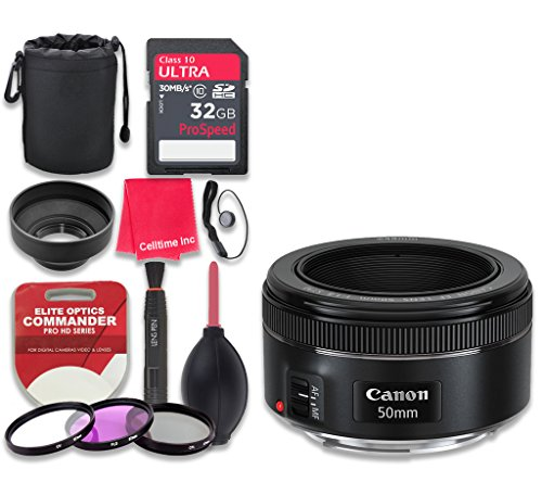 Canon EF 50mm f/1.8 STM Lens with 32GB Ultra Pro Speed Class 10 SDHC Memory Card + 3pc Filter Kit (UV-FLD-CPL) + Deluxe Sleeve + Celltime Microfiber Cleaning Cloth - International Version by Celltime Inc.