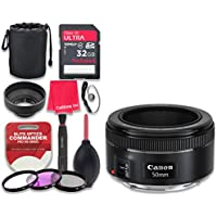 Canon EF 50mm f/1.8 STM Lens with 32GB Ultra Pro Speed Class 10 SDHC Memory Card + 3pc Filter Kit (UV-FLD-CPL) + Deluxe Sleeve + Celltime Microfiber Cleaning Cloth - International Version