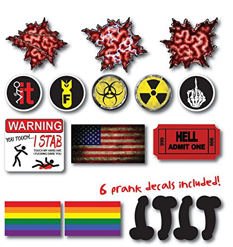 Amazon.com  11 pack of Crude Humor Hilarious Hard Hat Prank Decal Joke  Sticker Funny Laugh Construction LOL Electrician Welder Penis Gay Flag  LGBT+6 free  ... bf28ab549