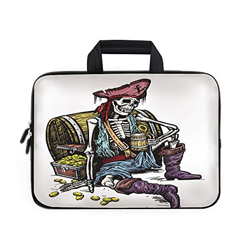 (Pirate Laptop Carrying Bag Sleeve,Neoprene Sleeve Case/Skeleton Pirate Holding Mug of Beer Treasure Chest Gold Freebooter Sailor Corsair Decorative/for Apple Macbook Air Samsung Google Acer HP DELL Le)