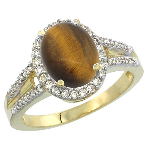 14K Yellow Gold Diamond Natural Tiger Eye Engagement Ring Oval 10x8mm, size (14k Tigers Eye Ring)