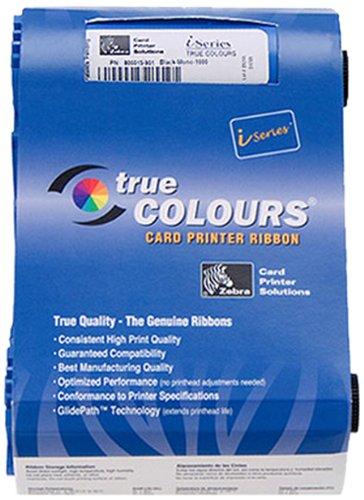 Zebra Technologies 800017-201 True Colors I Series Monochrome Cartridge Ribbon for Model P1XX Compatible, Black, 1000 Labels per Roll