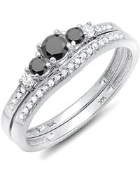0.45 Carat (ctw) 14k White Gold Round Black & White Diamond 5 Stone Bridal Engagement Ring Set 1/2 CT