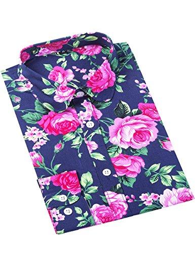 (XI PENG Women's Fashion Feminine Tops Blouse Work Button Down Long Sleeve Floral Dress Shirts (Large, Peony Flower-Purple) )