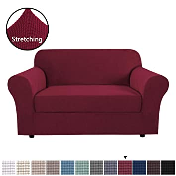 Awe Inspiring H Versailtex High Stretch 2 Piece Furniture Protector Sofa Cover For Loveseat Durable Spandex Stretch Fabric Super Soft Slipcover Burgundy 2 Seater Caraccident5 Cool Chair Designs And Ideas Caraccident5Info