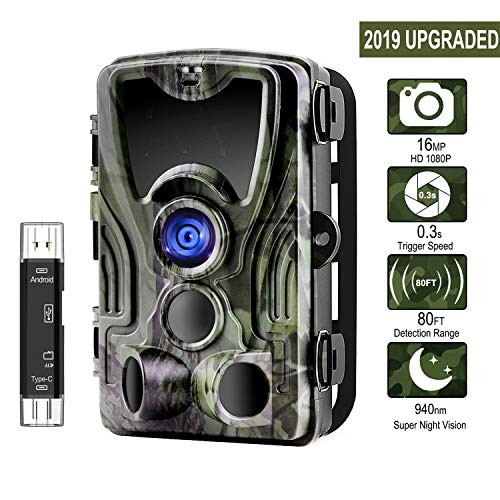 [2019 Upgraded] Trail Camera, ALWEEN 16MP 1080P Wildlife Game Cam with Infrared Night...