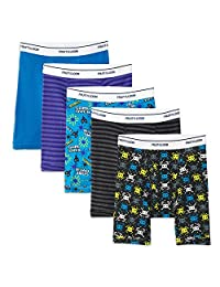 Fruit of the Loom Big Boy's 5-Pack Print/Solid Boxer Brief