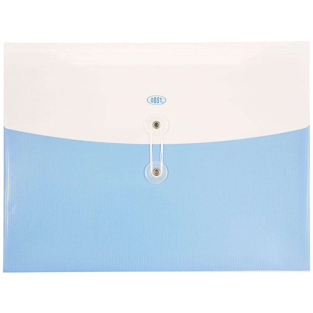 JAM PAPER Plastic Envelopes with Button & String Tie Closure - Letter Booklet - 9 3/4 x 13 - Light Blue - 12/Pack