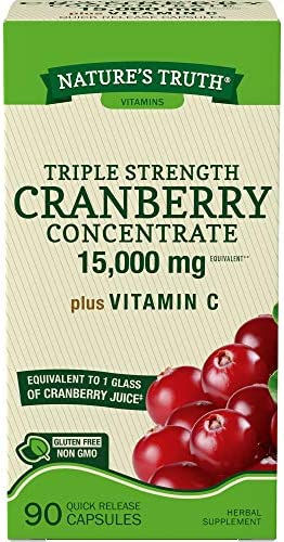 Nature s Truth Triple Strength Cranberry Concentrate 15000 mg Plus Vitamin C Capsules, 90 Count