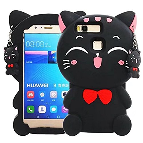 Huawei P9/P9 Lite Cartoon Silicone Case,Cute 3D Kitty Lucky Fortune Cat Design Phone Bag Soft Rubber Cover for Huawei Ascend P9/P9 Lite