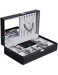 Watch Jewelry Box 8 Watch Organizer 3 Grids for Jewelry Display Storage Men Woman Watch Case with Mirror and Metal Hinge Black PU Leather SSH05B