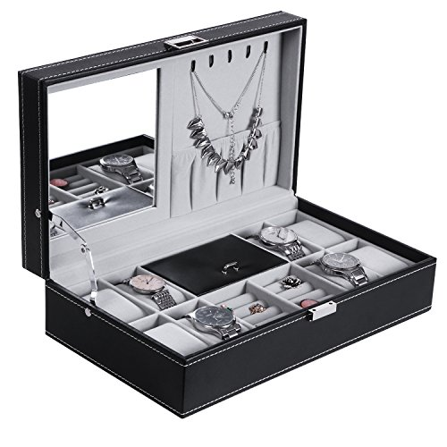 BEWISHOME Watch Box Organizer Case 12 Mens Jewelry Display Drawer w/Adjustable Tray Glass Top Black PU Leather