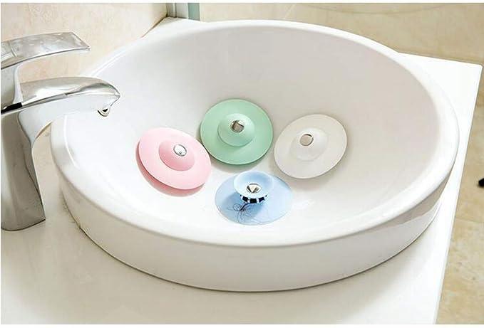 4 Couleur Silicone Drain Sink Filtre Vidange Couvercle Bouchon Bouchon pour Baignoire /Évier De Cuisine Salle De Bains Baignoire Plancher nuosen 4 Pcs Multifonctionnel 2-en-1 Drain Catcher Cheveux