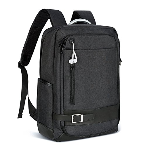 LUKATU Business Laptop Backpack Water Resistant Slim Computer Backpack Insert Organizer Headphone Port College Backpack School Bookbag Daypack 15.6 Inch Computer Women & Men(Black)