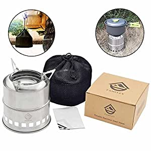 FAMELEY Wood Camping Stove, Folding Lightweight Burning Utensil, Portable Stainless Steel with Nylon Carry Bag for Outdoor Cooking Picnic Backpacking BBQ … (Round Wood Stove)