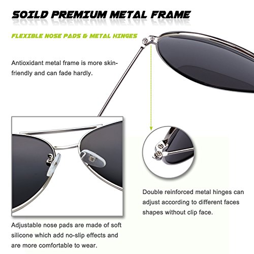 polarizadas Premium aviador Plateado gafas 1 sol refleja de el MZZ9 completa Plateado GQUEEN q8dwIZZ