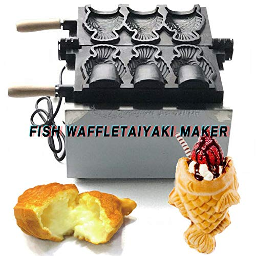 Taiyaki Maker, TBVECHI Commercial Nonstick Electric 3pcs Fish Waffle Ice Cream Taiyaki Maker 2000W DIY 110V
