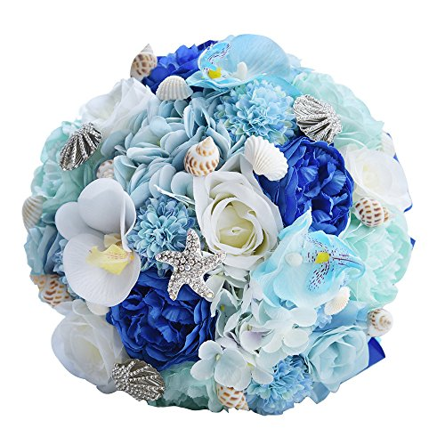 Abbie Home Bridal Bouquet Blue Brooches for Beach Wedding Bride Rose Flowers with Sea Shells Starfish Decoration (Light - Shell Wedding Beach