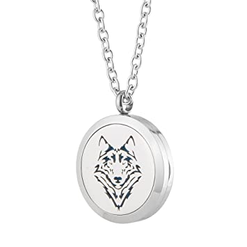 Amazon aromatherapy essential oil diffuser necklace wolf aromatherapy essential oil diffuser necklace wolf stainless steel locket pendant men boy fragrance jewelry mozeypictures Image collections