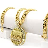 Men's Iced Out Hip Hop Style 14k Gold Tone Last Supper CZ Pendant 30'' Cuban Link Chain