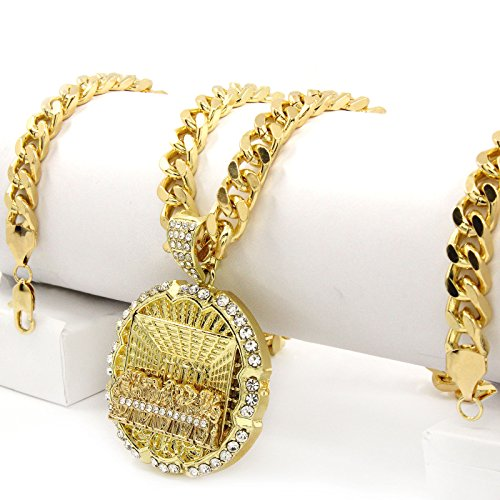 - Men Iced Out Hip Hop 14k Gold Plated Last Supper CZ Pendant and Cuban Link Chain