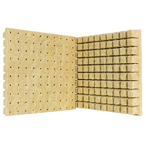 SKINNYBUNNY 1'' Rockwool Starter Plugs, Grow Cubes with Seed Holes, Ideal Hydroponics Grow Media, Perfect for Soilless Culture and Transplanting, 2 Sheets of 100 Plugs (100 Plugs Total)