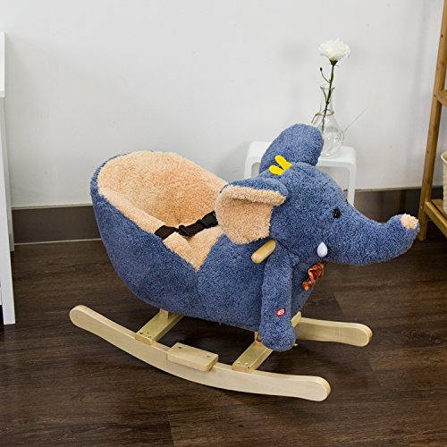 Peach Tree Baby Kids Toy Plush Rocking Horse Blue Elephant Theme Style Riding Rocker with Sound