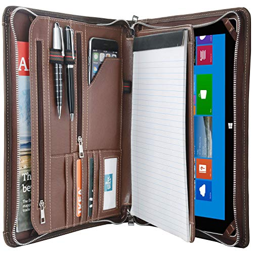 Vintage Crazy-Horse Portfolio Organizer Padfolio Compact Case for Microsoft Surface Pro 6 / Pro 5 / Pro 4, Padfolio Case Business Zippered Organizer Document Folder with Letter Size Notepad Holder
