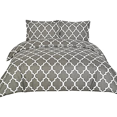 3 Piece Duvet Cover Set (King, Grey) Duvet Cover with 2 Pillow Shams - Hotel Quality Brushed Microfiber - Luxurious & Extremely Durable - by Utopia Bedding