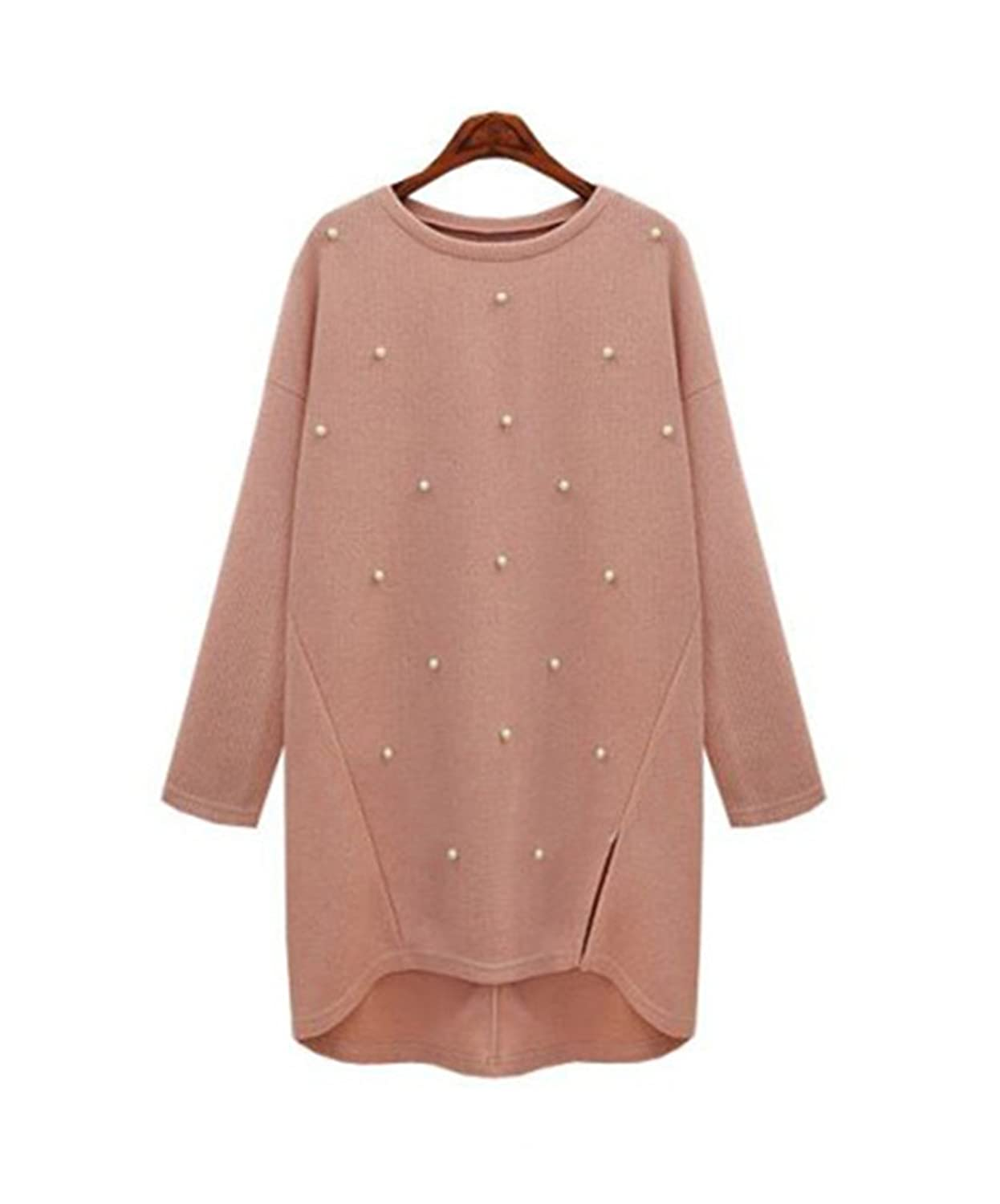 Huafeiwude Womens Round Neck Bead Loose Irregular Knitted Long Pullover Sweater