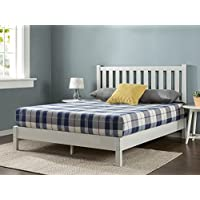 Zinus Deluxe Wood Platform Bed with Slatted Headboard / No Box Spring Needed / Wood Slat Support, Queen