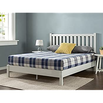 Zinus Deluxe Wood Platform Bed with Slatted Headboard / No Box Spring Needed / Wood Slat Support, King