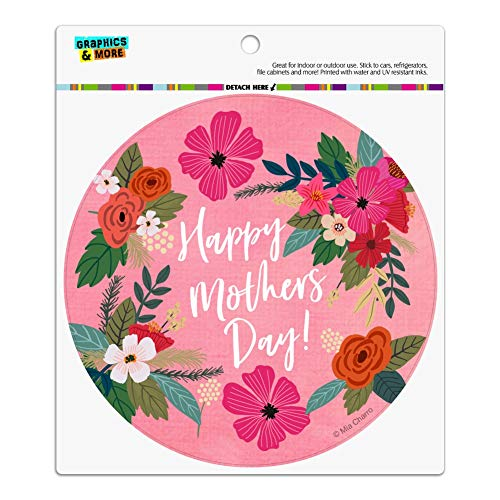 Graphics and More Happy Mother's Day Mom with Flowers Automotive Car Refrigerator Locker Vinyl Circle Magnet