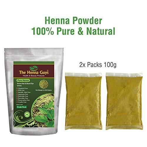 2 Packs of 100% Pure and Natural Henna Powder - Multi-Purpose & Chemicals Free Hair Dye - The Henna Guys - Powder Purpose Multi