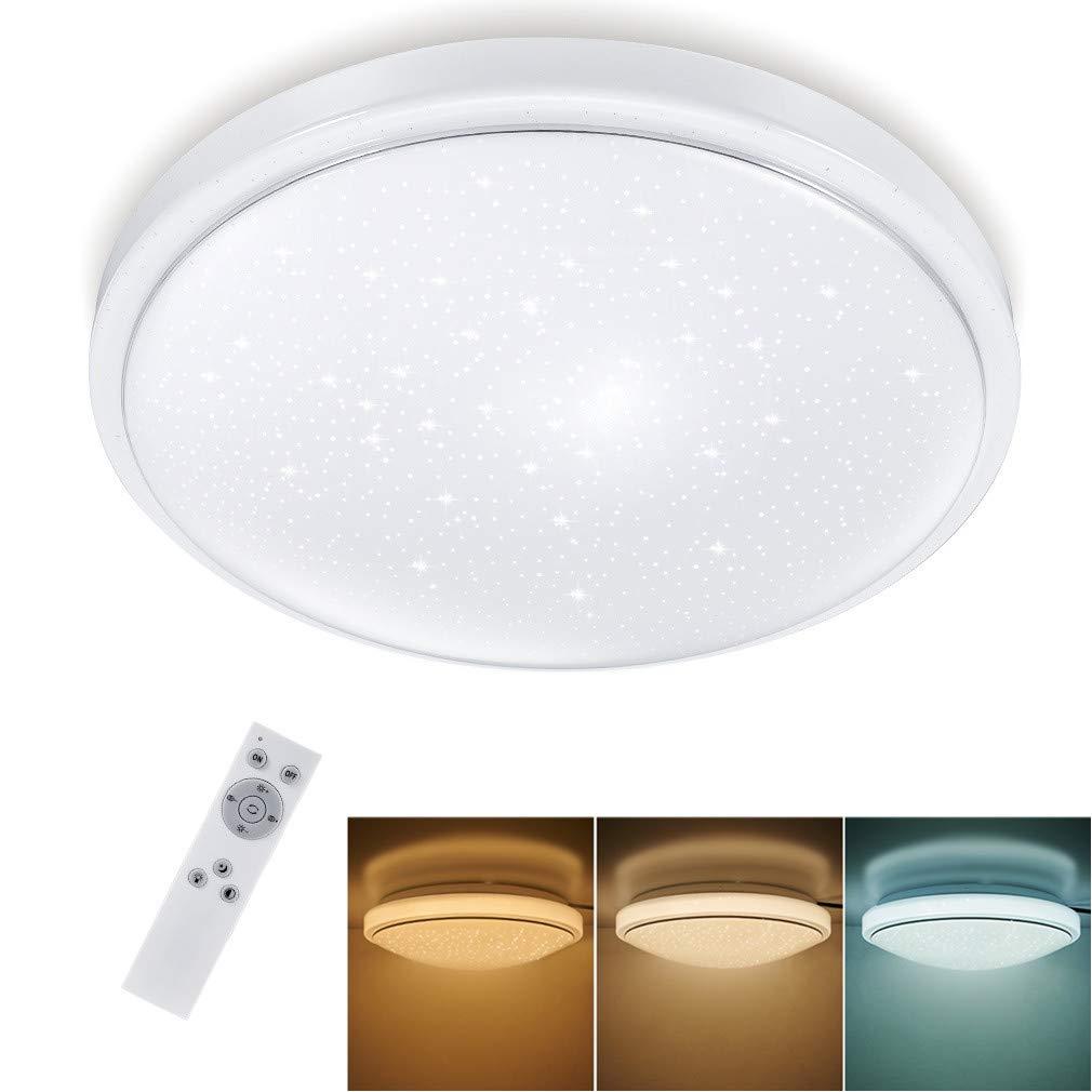 LED Deckenleuchte Dimmbar Sternenhimmel 15W, Tonffi LED Deckenlampe Dimmbar  mit Fernbedienung Einstellbar Farbtemperaturen und Helligkeit für