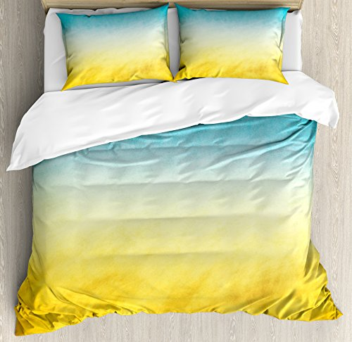 (Ambesonne Yellow and Blue Duvet Cover Set King Size, Surf Waves Ocean Beach Exotic Dreamy Gradient Toned Blurry Landscape, Decorative 3 Piece Bedding Set with 2 Pillow Shams, Blue Yellow)