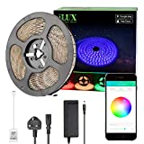 iLUX Bluetooth RGB LED Strip Light Kit, 5M Colour Changing Rope Lights, Dimmable, Music Sync, Waterproof, Mood Lighting for Party, Birthday, Holiday and More