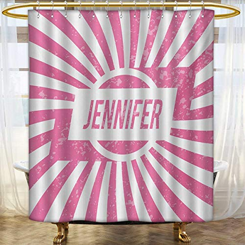 lacencn Jennifer,Shower Curtains Fabric,One of The Most Popular Names for Newborn American Girls in Retro Design,Bathroom Decor Set with Hooks,Pale Pink and White,Size:W72 x L96 inch - Jennifer Curtain Panel Set