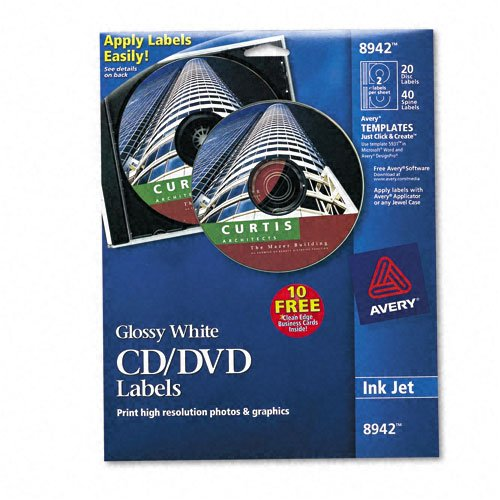 Avery : CD/DVD Glossy Labels for Inkjet Printers, Clear, 20 Labels/pack -:- Sold as 2 Packs of - 20 - / - Total of 40 (Clear Laser Cd Label)